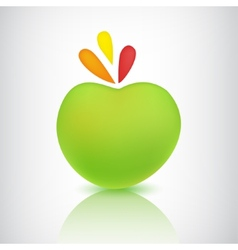 Green apple icon with shadow and reflection vector