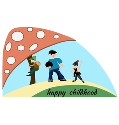 People boy children mushroom happy childhood vector