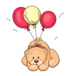 Teddy bear and balloons vector