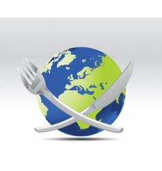 World and cutlery vector
