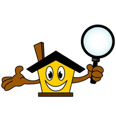 House cartoon holding magnifying glass vector