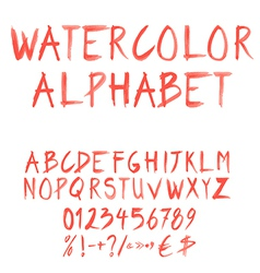 Watercolor font set vector
