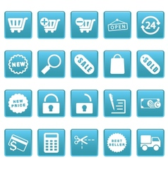Shopping icons on blue squares vector