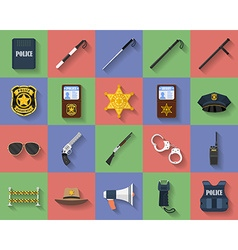 Icon set of police regimentals uniform weapons vector