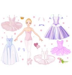 Paper doll ballerina vector