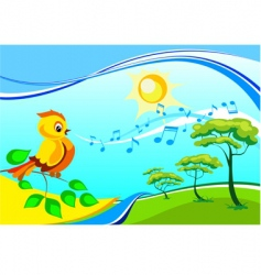 Landscape with a singing birdy vector