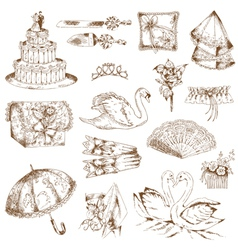 Set of beautiful wedding hand drawn elements vector