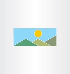 Mountains and sun flat icon vector