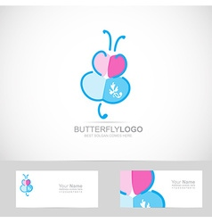 Butterfly drawing logo vector