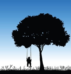 Baby on a swing is swinging in a tree vector