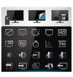 Tv features icon set vector