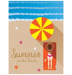 Summer woman with bikini sunbathe on the beach vector