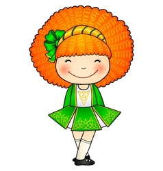 Irish dancing girl in green traditional dress vector
