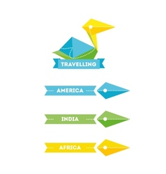 Modern bright creative travel company bird logo vector