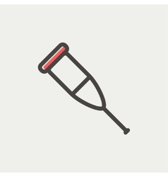 Crutch thin line icon vector