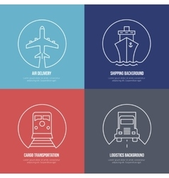 Logistics line icons airmail cargo transportation vector