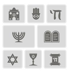 Monochrome icons with jewish symbols vector