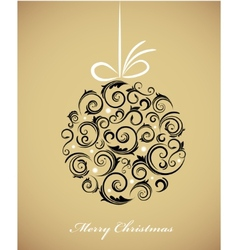Vintage christmas ball with retro ornaments vector