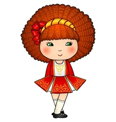 Irish dancing girl in red traditional dress vector