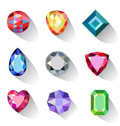 Flat style long shadow colored gems cuts icons vector