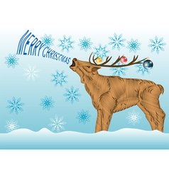 Deer with christmas wishes vector