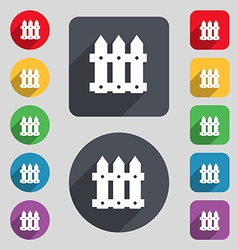 Fence icon sign a set of 12 colored buttons and a vector