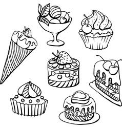 Cupcakes icecream sketch vector