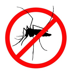 Prohibition sign for mosquitos on vector