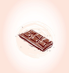 Milk chocolate hand drawn sketch on pink vector