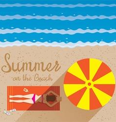 Summer woman with bikini sunbathe on the beach vector