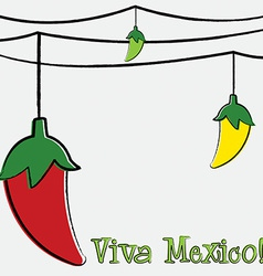Hand drawn chili pepper string card in format vector