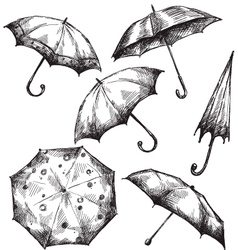 Set of umbrella drawings vector