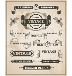 Vintage hand drawn banner and ribbon design set vector