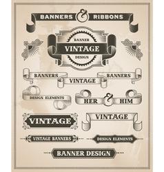 Vintage hand drawn banner and ribbon design set vector