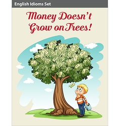 A boy under the money tree vector