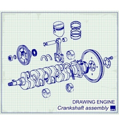 Drawing old engine crankshaft assembly vector