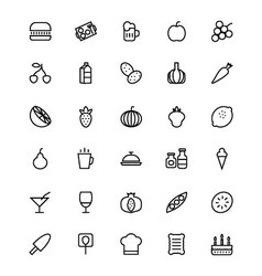 Food and drinks line icons 3 vector