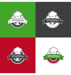 Retro badge for pizza restaurant italian vector
