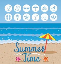 Summer beach background with text and icons vector