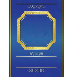 Blue card with gold frame vector