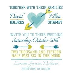 Wedding vintage invitation - heart and arrows vector