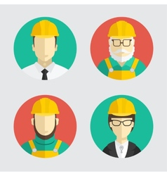 Building trades avatar builder engineer flat vector
