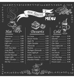 Coffee menu on chalkboard vector