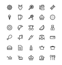 Food and drinks line icons 4 vector