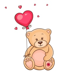 Cute teddy bear with red balloon vector