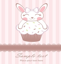 Cute bunny on cupcake card vector
