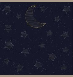 Embroidered with gold stars and the moon vector