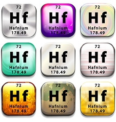 A button showing the element hafnium vector