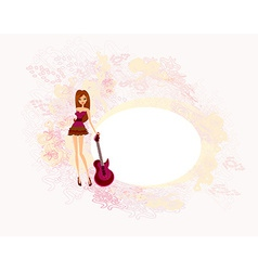 Image of girl pretty and electrical guitar vector