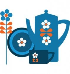 Tea pot set vector
